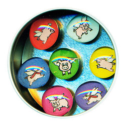 """Flying Pig Glass Gem Magnet Set - Handmade in our studio, our Flying Pig glass gem magnets started with tiny paintings. We use super strong ceramic magnets, so they're not only cute, they're functional. (Unlike those magnets that fall off when you close the refrigerator door!) Each magnet is about 3/4 inch wide, the tin is 2.75"""" wide. Set of 7 in a tin. Made in the USA."""