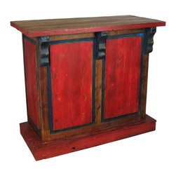 "Small Painted Wood Bar - Ideal for smaller areas, this hand crafted bar has plenty of storage on the back including shelves, wine rack and wine glass holders. Entertain friends while making a design statement. Visit our website for more. Expect variations in size and color as each one is unique. 42"" w x 23"" d x 48"" h Free Shipping in Continental U.S."