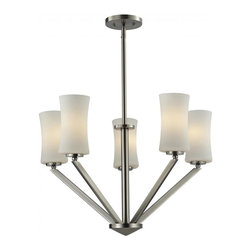 Five Light Brushed Nickel Matte Opal Glass Drum Shade Chandelier - This five light chandelier uses exquisitely designed, angled brushed nickel arms to hold uniquely shaped, warm glowing matte opal shades. An exceptionally contemporary fixture, this fixture includes adjustable rods to ensure the perfect hanging height.