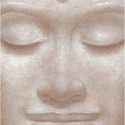 Smiling Buddha Wall Mural - A smiling Buddha face is the single element of this neutral toned single panel wall mural.