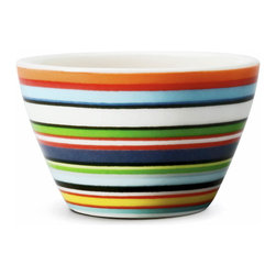 Iittala - Origo Serving Bowl, Orange - Make your side dishes a little more exciting. This bright striped ceramic bowl — ideal for veggies, mashed potatoes, slaw, whatever your specialty — is a brilliantly stylish accent for your table and sideboard.