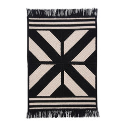 Colonial Mills, Inc. - Sedona, Black Rug, Sample Swatch - Bold lines and contrasting black and cream make this rug's simple geometric pattern a showstopper. The braided, fringed style adds a rustic touch to the contemporary pattern, making it seem almost tribal. Toss this rug on your wood floor, and it will pull together the contrasts and natural elements in your room.