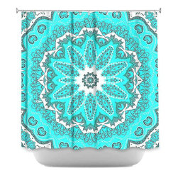 Shower Curtain HQ - Put this bright turquoise shower curtain in your bathroom to add bold pattern and a cool color scheme. The mandala design will be such a conversation piece when guests come over. The artwork on this shower curtain was designed by Monika Strigel and a portion of every sale goes back to her.