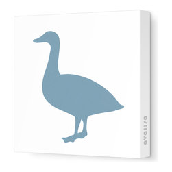 """Avalisa - Silhouette - Duck Stretched Wall Art, 28"""" x 28"""", Blue Gray - Boring walls make you want to duck for cover? This striking silhouette will make your room take flight. On stretched white fabric, each comes in your choices of sizes and fun colors — in fact, it might be extra tasty in orange."""