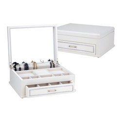 Reed & Barton Jillian Small Wonders Jewelry Box - 12W x 4.5H in. - Exhibiting a pure white finish accented with a silver border and detailed beading on front corners, the Jillian Small Wonders Jewelry Box from Reed & Barton is lined in pearl white flocked velvet. Part of the Small Wonders Collection, this jewelry box features a full mirror in lid and accommodates rings, bracelets and earrings. The unique pendant hook arrangement holds necklaces securely and offers easy access. About Reed & Barton/Eureka Mfg.Founded in 1824, Reed & Barton enjoys a reputation as one of the country's foremost marketers of fine tableware and giftware. Recognized for design excellence and the highest quality workmanship, Reed & Barton offers an array of exceptional products that satisfy a broad range of tastes. Today the Reed & Barton name graces fine flatware, dinnerware, crystal, giftware, and picture frames, as well as a wide variety of expertly made, handcrafted flatware and jewelry chests. For more than 183 years, Reed and Barton products have been the choice of those with discriminating taste. Their unwavering commitment to quality and customer satisfaction can be found in every product that bears the Reed & Barton name.