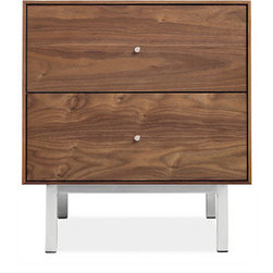 Hudson Steel Base Nightstands - This nightstand subtly hints at mid century design without feeling to dated or themed. I love the small metallic accent on the legs and drawer pulls.
