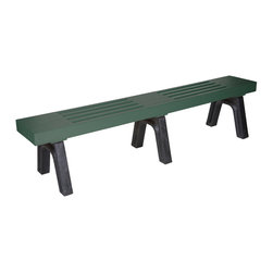 Eagle One - Eagle One 7 Feet Modern Mall Bench in Black and Green - 2 x 4 Inch Slats - Our Modern Bench 1 x 4 series is an industrial grade outdoor park bench. Legs are available in: black brown green and gray. Shipped knocked down for easy transit and made from easy to clean never-rot eco-responsible Greenwood HDPE plastic lumber.