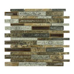 "Euro Glass - Scottsdale Brass Random Bricks Brown Kitchen Polished Glass and Stone - Sheet size: 12 1/2"" x 12 7/8"""