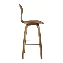 "Lemoderno - Fine Mod Imports  Wooden Bar Chair 30"", Walnut - Molded plywood seat utilizes a unique construction of laminated plywood of graduated thickness. The number of plies varies from 15 at the `throat` of the seat to 5 laminations at the seat`s perimeter. This feature, plus the molding of compound curves, permits a structurally superior design, which is sculpted in form and posture supporting.     Assembly Required"