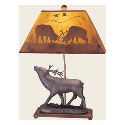 Mario Industries - Elk Table Lamp - A majestic way to enhance your rustic d�cor this table lamp boasts a proud elk in a carved driftwood finish.  Its natural beauty is crowned by an elk silhouette shade. Mario Industries - 96T327