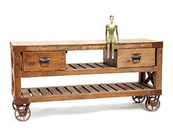 Reclaimed Wood Cart - Can you believe this cart? I am loving the furniture this company is making from reclaimed industrial products, this cart could make a stunning console in a living room for to put the television on or a movable work island in a kitchen. The doll? A little creepy, not so much.