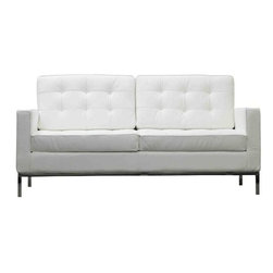 Modway - Loft Leather Loveseat in White - The mid-20th century was a time when hopes were at their highest. Technological developments were bustling forward, and the new world was just barely visible in the distance. But this time also presented a dilemma of sorts. The test of this forthcoming era was to be whether industry would foster comfort or stifle it. What makes the Loft series so complete? At first glance, it displays a pleasant linear design with an external tubular stainless steel frame. The back and seat are tufted and buttoned to enhance the overall richness of the piece. But can these aspects be said to define the totality of a classic? The answer then must be something profound. A thought that serves as representative of that era, while matching the sentiments of our present age. Our suggestion is that the Loft series conveys the potential of progress. From amidst the steel base, a comfortable seating experience is attained. From out of the exponential surge of technological growth, comes peace and solace. Perhaps this is why Loft is the sofa series of choice for so many Fortune 500 companies. Aside from its iconic feel, the set is symbolic of a time when technological innovation could do no wrong. When faster was seen only as something positive. The Loft series is the preferred choice for reception areas, living rooms, hotels, resorts, restaurants and other lounge spaces.