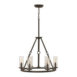Hinkley Lighting - Hinkley Dakota Oil Rubbed Bronze Six-Light 26.5 Wide Chandelier - The Dakota collection rounds up the best in Western style with a rustic chic design. Cast metal faux leather straps and buckle combine with clear seedy hurricane shades perched on cast cups for luxe lodge charm.Under four generations of family leadership Hinkley Lighting has transformed from a small outdoor lantern company to a global brand intent on bringing you the best in style quality and value. LIFE AGLOW: That's their mantra and they take it seriously. By welcoming their products into your home they become part of your family's everyday life illuminating small moments and big occasions. They understand your home is so much more than a physical place. It's an emotional space designed by you so they are committed to keeping your 'Life Aglow' with stylish state-of-the-art lighting. Their products are the ultimate combination of style and substance. They are constantly developing new technologies to make their fixtures even more energy efficient. Hinkley recently upgraded their LED to cutting-edge high lumen output integrated solutions and they give you hundreds of energy-efficient styles to choose from. Even their Cleveland-based world headquarters employs high energy saving standards with low VOC materials and a variety of eco-smart applications into the design to make an earth-friendly work environment for their Hinkley family. Hand crafted fixtures luxe finishes artistic details and quality materials go into the design of every product they make. They embrace the philosophy that you can merge together the lighting furniture art and accessories you love into a beautiful environment that defines your own personal style.