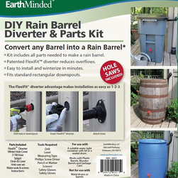 DIY Rain Barrel Kits at The Rain Barrel Depot - Earthminded revolutionized the rain barrel industry with its patented flexi-fit diverter system.  The diverter eliminates having to cut your down spout. It also eliminates having an overflow hose and creates a sealed system, eliminating mosquitoes and debris from entering your rain barrel.