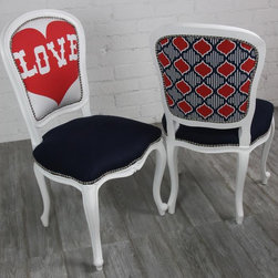 Philippe Dining Chair With Love Heart And Moroccan Print - This pair is quirky and slightly retro. They'd be cute in an apartment for two, or mismatched with others around a family dining table. They're great playful pieces!