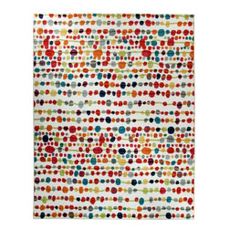 Mohawk Home - Strata Delerus Multi Contemporary Beads 5' x 8' Mohawk Rug (11820) - Fresh, funky and fun are a few words to describe this trendy new pattern. Possibilities abound for how to combine this rug to create a space that is spotted with your unique style and personality. Action Backing