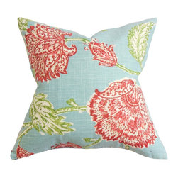 The Pillow Collection - Behati Floral Pillow Aqua Red - Transform your home from serious to fun with this charming decor piece. This throw pillow features a floral detail in shades of red, white and green on an aqua blue fabric. This styling accessory completes the look of your room in an instant. Decorate this accent pillow on your sofa, floor, bench or bed for extra comfort. Crafted in the US, this toss pillow is made from a blend of 55% linen and 45% rayon material. Hidden zipper closure for easy cover removal.  Knife edge finish on all four sides.  Reversible pillow with the same fabric on the back side.  Spot cleaning suggested.