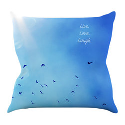 """Kess InHouse - Robin Dickinson """"Live Love Laugh"""" Throw Pillow (16"""" x 16"""") - Rest among the art you love. Transform your hang out room into a hip gallery, that's also comfortable. With this pillow you can create an environment that reflects your unique style. It's amazing what a throw pillow can do to complete a room. (Kess InHouse is not responsible for pillow fighting that may occur as the result of creative stimulation)."""