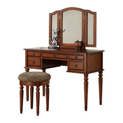 Adarn Inc. - Tri Folding Mirror Make Up Table Vanity Set Wood w/ Stool 5 Drawers, Walnut - Introducing this beautiful brand new transitional style vanity table set. Featuring solid wood and veneer construction and comes in White/ Walnut/ Cherry/ Black finish. This vanity has five drawers with antiqued bronze accents for storage and to keep your surface-top clutter free. A tri-folding mirror is the focal point of this vanity and can be adjusted to be able to view your face and hair from all angles. Traditionally styled table legs and clean lines give this table a transitional contemporary vibe. Comes with a matching seat bench with a cushioned seat upholstered in patterned fabric.