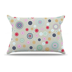 """Kess InHouse - Suzanne Carter """"Circle Circle I"""" Gray Multicolor Pillow Case, Standard (30"""" x 20 - This pillowcase, is just as bunny soft as the Kess InHouse duvet. It's made of microfiber velvety fleece. This machine washable fleece pillow case is the perfect accent to any duvet. Be your Bed's Curator."""