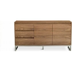 Gus Modern - Gus Modern | Annex Cabinet - Part of the Annex Series from Gus* Modern, the Annex Cabinet features a sleek silhouette that is unencumbered by bulky handles or pulls. With 3 self-closing drawers and 2 self-closing doors, the Annex Cabinet is both a modern and functional storage unit. The warm walnut shell is a perfect contrast to the cool, stainless steel base. Recessed handles give the Annex Cabinet a clean, minimal look. The Annex Cabinet includes an adjustable shelf and an adjustable middle leg for additional support. Five leveler feet allows the Annex Cabinet to stand steady on uneven or angled floors. Plastic feet prevent floor surfaces from being damaged.