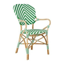 Serena & Lily - Chevron Riviera Armchair Kelly Green - What could be better than our timeless Riviera Chair? The same sleek frame (inspired by the bistros of 1930s Europe) in a bold new chevron pattern. We love the classic colour mix, too a rich shade against a crisp white. Handcrafted of sustainable rattan with a woven plastic seat and back, it's great inside or in the garden. Look closely and you'll notice the wonderfully organic marks created while bending and stretching the rattan into shape a time-honored technique perfected by the French. Try it with the other silhouettes in this collection. A slight variation in how the colors are woven keeps things interesting.   View dimensions