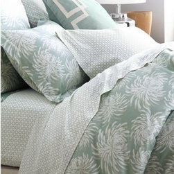 Garnet Hill - Garnet Hill Origami Cotton Sateen Bedding - Double - Flat - Silver Green - In an artful pattern that resembles origami, these lustrous cotton sateen sheets are perfect on their own or for mixing and matching with solids. 300 thread count combed long-staple cotton.