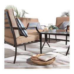 "Strathwood - Strathwood Brentwood 4-pc Outdoor Furniture Set - ""4-piece outdoor furniture set includes 2 chairs, loveseat, and coffee table, plus cushions and 4 throw pillowsDurable, lightweight steel frames with powder-coat finish in black with bronze flecks; glass table top; 100-percent polyester cushion coversSome assembly required for coffee table; all other pieces are fully assembled; set is importedSpot clean with mild soap and water and air dry; bring cushions indoors during inclement weather and store in dry place when not in useCoffee table measures 36 by 22 by 18""""; each chair measures 29 by 24 by 33""""; loveseat measures 29 by 49 by 33"""