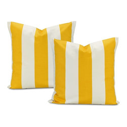EFF - Cabana Yellow Stripe Cotton Pillow Cover (Set of 2) - Decorate your home in contemporary style with these Cabana pillow covers. Crafted with soft cotton,these white pillowcases feature a trendy yellow stripe pattern,finished with a charming envelope-style button closure.