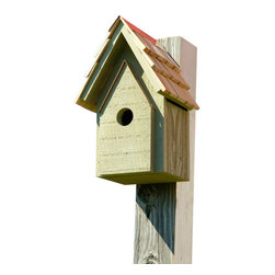 Heartwood - Bungalow Birdhouse elery - This  beautiful  birdhouse  is  a  cozy  version  of  the  popular  Bluebird  Manor  made  with  a  smaller  interior  and  hole.  The  select  cypress  construction  features  hand-cut  shingles,  copper  trim  and  a  finish  of  your  choice  of  all-weather  stain.  With  excellent  ventilation  and  drainage,  convenient  rear  clean-out  and  metal  loop  for  easy  mounting.   Available  in  5  different  colors.          Product  Details:                  7x8x12              1-3/8  hole              Available  in  smoke  grey,  pinion  green,  redwood,  whitewashed  and  celery              Handcrafted  in  USA  from  renewable,  FSC  certified  wood
