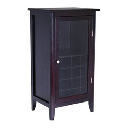 Winsome Trading, INC. - Winsome Wood 92522 Ryan Wine Cabinet - Safely stow that special-occasion chardonnay and maintain easy access to everyday table reds with this handsome Winsome Wood wine cabinet. Crafted of solid/composite wood with a rich Espresso stain, the cabinet holds 16 wine bottles in individual cubbyholes, 8 to 12 long-stem glasses in the hanging rack above, and accessories such as openers and decanters on the open shelf. A framed glass door protects the delicate contents inside from dust and damage, and an oversized top surface makes a roomy pouring and serving station. Designed with a sleek, versatile style that complements many decors, the cabinet features inset paneled sides, gracefully tapered legs, and a round satin-nickel metal door pull. It measures 21.9 inches wide by 15.8 inches deep by 40.2 inches high. Assembly is required.