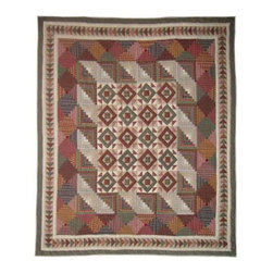 Patch Quilts - Country Roads Twin Quilt - -Constructed of 100% Cotton  -Machine washable; gentle dry  -Made in India Patch Quilts - QTCROA