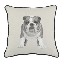 D'Kei Bulldog Graphics Pillow - Your guests will fall in love with the D'Kei Bulldog Graphics Pillow. The chic retro design of this pillow is made of 75% cotton and 25% linen cover. Filled with 100% hypoallergenic polyfill, this pillow supplies premium comfort. Eco-friendly water-based inks are used for this greyscale bulldog image. The black cord edging of this pillow provides a fashionable accent and includes a hidden zip closure. Made in the USA.