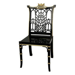 Oriental Furniture - Black Lacquer Pagoda Chair - Finished in an exceptional black lacquer, and accented with hand painted gold details, this unique, hand crafted chair will make a refined and elegant addition to any room. The chair back features a pagoda top design and a distinctive Oriental style lattice.