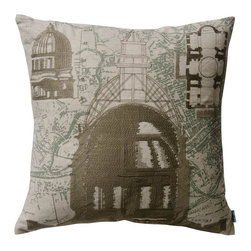 KOKO - Parisian Architecture Pillow - Francophiles will rejoice in the iconic Paris architecture captured on this pillow. Just imagine curling up with this historical beauty on your couch or bed and enjoying the embroidered detail work throughout.