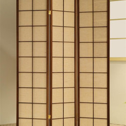Asia Direct Home - 3-Panel Shoji Room Divider Screen w Cherry Fr - Light brown fabric inlay. Thickness: 1 in.. Overall: 51 in. W x 70 in. H
