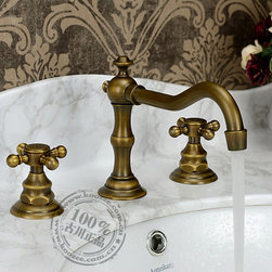 Antique Brass Widespread Two Handles Bathroom Sink Faucet KZ-356Q - Specifications