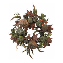 "Nearly Natural - Nearly Natural 24"" Pumpkin and Gourd Wreath - A west-coast twist on a treasured holiday classic, this 24 inches; wreath is bursting with the spoils of a traditional autumn harvest. With gourds and small pumpkins adorning the multihued leafs, berries, and twigs, this eye-catching offering is perfect for adding a touch of Fall to your holiday decor."