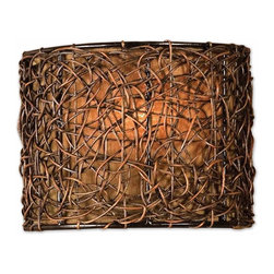 None - Knotted Rattan 1-light Espresso Wall Sconce - The Knotted Rattan one-light wall sconce has a distinct style that is sure to enhance a room's interior styling. Crafted with rattan wrapped exterior this lighting fixture features a silken bronze linen liner.