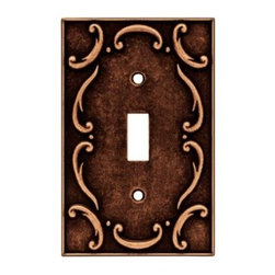 Liberty Hardware - Liberty Hardware 64268 French Lace WP Collection 3.15 Inch Switch Plate - A simple change can make a huge impact on the look and feel of any room. Change out your old wall plates and give any room a brand new feel. Experience the look of a quality Liberty Hardware wall plate. Width - 3.15 Inch, Height - 4.9 Inch, Projection - 0.3 Inch, Finish - Sponged Copper, Weight - 0.34 Lbs.