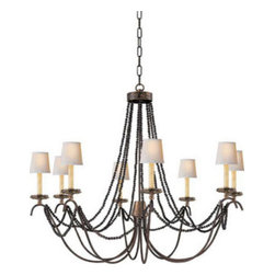 Marigot Eight Light Chandelier With Wood Beads - This beautiful beaded chandelier bring sophisticated old-world style to modern life. Shades sold separately.