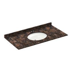 LessCare - 49x22 Baltic Brown Granite Vanity Countertops - 4 Faucet Spread - *Condition: New