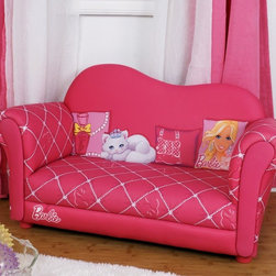 Kids Furniture - The ultimate in diva decoration is the Barbie Glam Sofa. Ideal for playtime with friends, the sofa comfortably seats two little ones. With Barbie artwork and extra-comfy padded upholstery, this is a great furnishing for any little girl.
