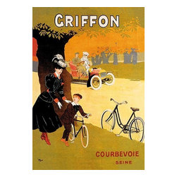 """Buyenlarge.com, Inc. - Griffon- Paper Poster 12"""" x 18"""" - A French advertising poster showing a woman giving her young son riding lessons on a bicycle as a couple in a car drive by. The effect is to show that Griffon manufacturers cars as well as bikes."""