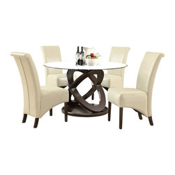 """Monarch Specialties - Monarch Specialties 1749-1777TP 5-Piece Round Dining Room Set in Dark Espresso - Enhance your dining experience with this contemporary 48"""" round dining table with a thick tempered, beveled glass top and a unique Olympic ring designed sturdy table base. Ample leg room with a beautiful look for any kitchen or dining room."""
