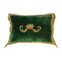 18th Antique Silk Velvet Pillow with Century Heraldic Crown Applique - The HighBoy, Olde World Pillows