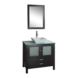 "Belvedere - 36"" Bathroom Vanity Espresso Finish Tempered Glass Top w/ Faucet & Mirror - The Belvedere single sink vanity exemplifies bold, pared-down contemporary style. Constructed of solid oak with an espresso finish, the cabinet has clean, straight lines and brushed nickel hardware. Two doors and two drawers provide plenty of storage for bathroom essentials. A tempered glass countertop holds the white ceramic vessel basin with modern chrome faucet and pop-up drain. A beautiful matching framed mirror is included. Handmade by skilled craftsmen, the fully assembled cabinet has high quality soft-closing doors and European sliders."