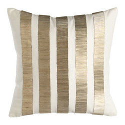 "Donna Karan Home - Donna Karan Home Bugle-Bead Pillow, 12""Sq. - Bugle beads create wide stripes on ivory cotton sateen. 12""Sq. Feather/down insert. Dry clean. Imported."