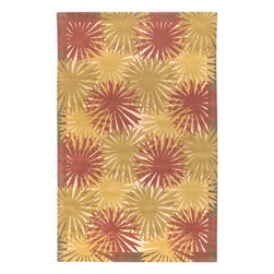 Mustique Red Rug - 2'x3' - Mustique Red Rug: Inspired by casual lifestyles, this area rug is Hand tufted of 100% New Zealand wool, giving these rugs the quality to look great for years to come. Make your home feel like you are on vacation 365 days a year. his Contemporary area rug is Hand Tufted in India with 100% New Zealand Wool. The specific colors of this rug include Brown, Ivory, Red, Gold, Brass. he primary color of this rug is brown.