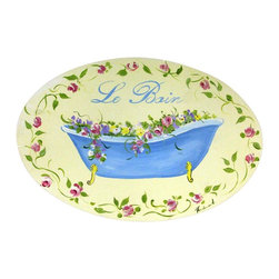 """Stupell Industries - Yellow and Blue Tub Le Bain Bath Plaque - Decorative and fuctional. Made in USA. MDF Fiberboard. Original Stupell art. Approx. 11 in. W x 15 in. L. 0.5 in. ThickWhat better way to add class to your bath than with a wall plaque by from """"The Stupell Home decor Collection."""" Whether it is the black and white """"la toilette,"""" the black oval """"powder room,"""" or the rectangle crest """"le bain,"""" one thing stays the same: each plaque is hand finished, made in the USA, and comes with colorful grosgrain ribbon for hanging. Bath plaques from """"The Stupell Home decor Collection"""" are meticulously crafted by a variety of in-house artists and come on ½"""" thick MDF fiberboard."""